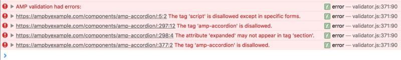 validation result console of browser 6 روش جلوگیری از اشتباهات رایج در پیاده سازی AMP