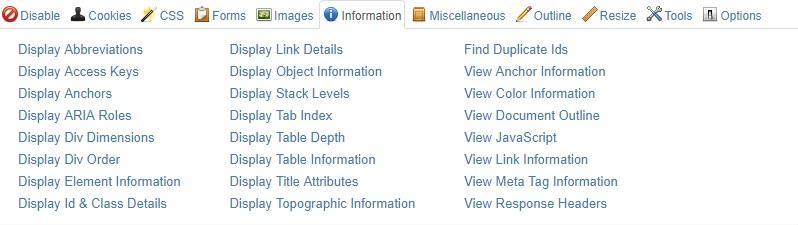 web developer toolbar 20 ابزار سئو فنی – قسمت اول