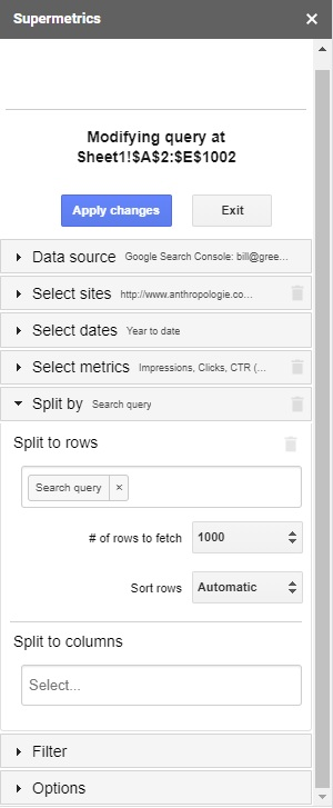 API کنسول جستجوی گوگل,افزونه Supermetrics,بهترین کلمات کلیدی